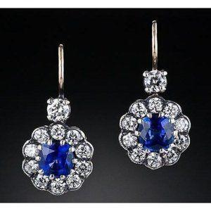 Jewelry - 3.5 ct. Blue cushion sapphire drop earring diamond